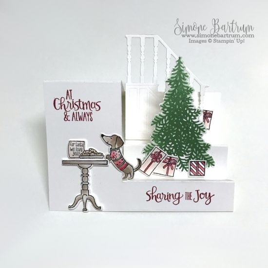 Stampin' Up! Ready for Christmas stamp set and Christmas Staircase thinlits dies. Measurements at www.simonebartrum.com