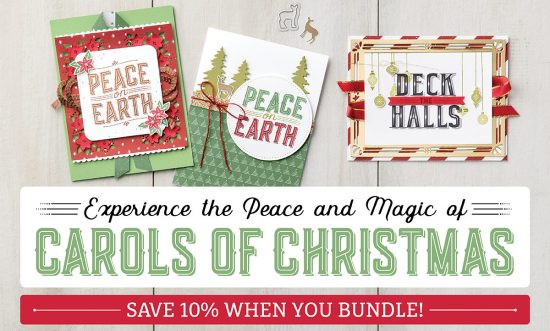 Carols for Christmas - new Stampin' Up! bundle of stamps and coordinating framelits available from August 2017. Available in Australia from http://bit.ly/CarolsOfChristmas