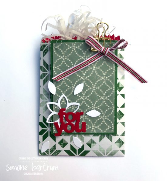 Mini Treat Bag by Stampin' Up. Decorated with products from the Quilted Christmas suite.