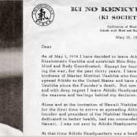 Lettera di Dimissioni di Koichi Tohei dall'Aikikai Hombu Dojo