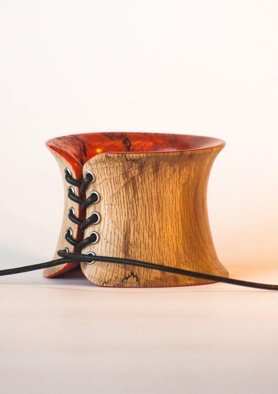 Corset wood bangle