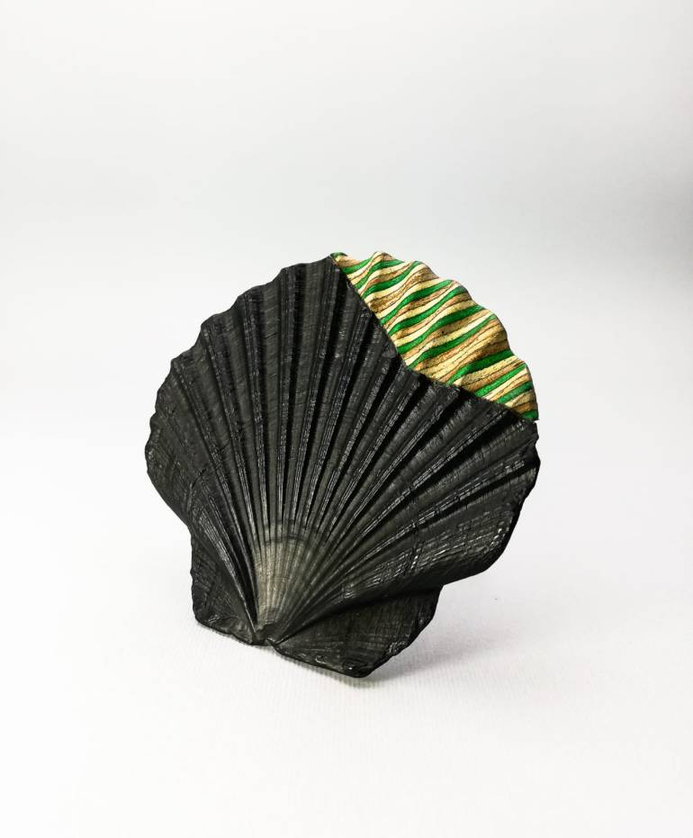 """Atlantis"" brooch, made of seashell and recycled skateboard wood"