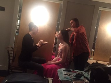 Behind the scenes - Jenny Tellet works on hair while I start Hollie's makeup