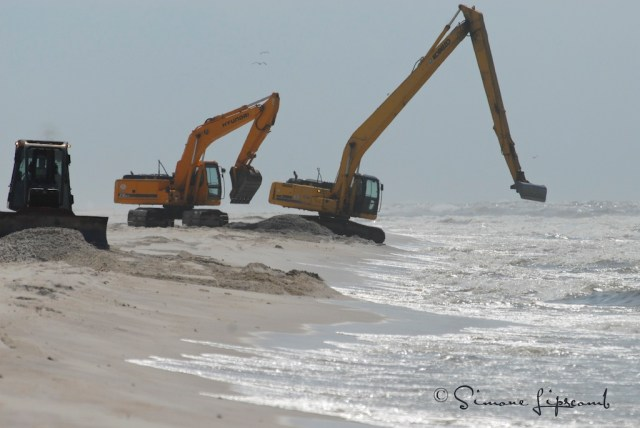 Machinery at Bon Secour National Wildlife Refuge trying to remove a large, sunken mat of oil during the BP Oil Spill