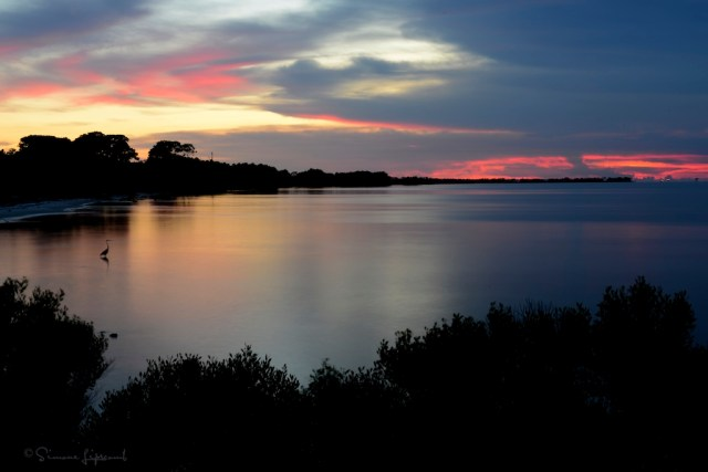 sunset over Mobile Bay from Shell Banks