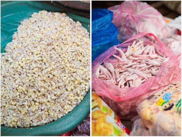 Miereneieren te koop op de markt in Laos | simoneskitchen.nl