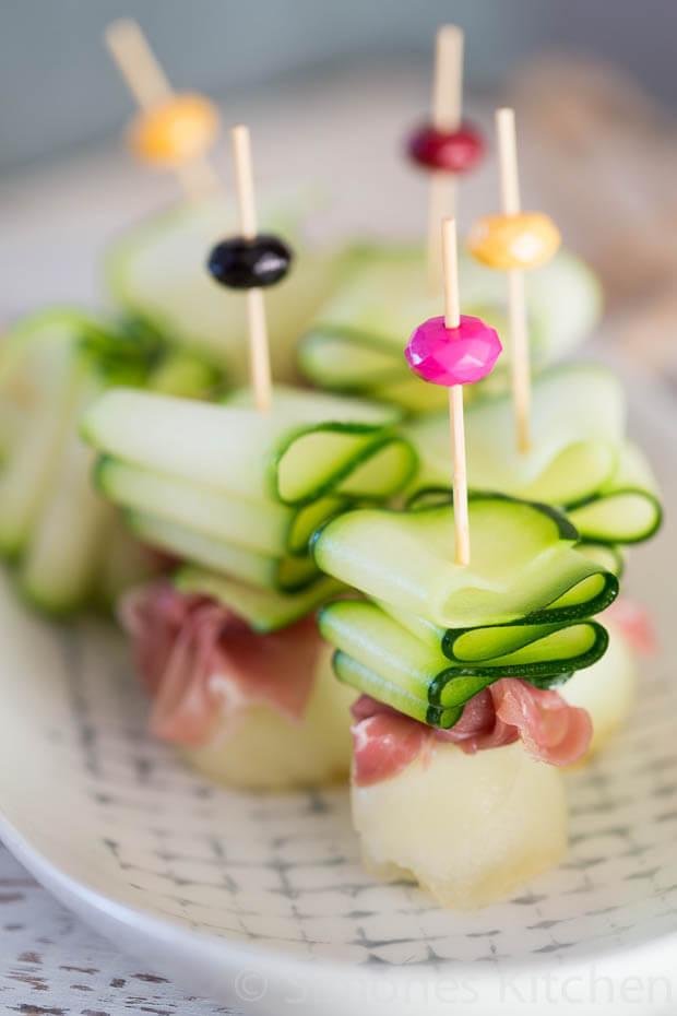 Ham en courgette linten met meloen   simoneskitchen.nl