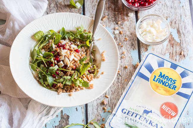 Farro salade met geitenkaas en granaatappel | simoneskitchen.nl