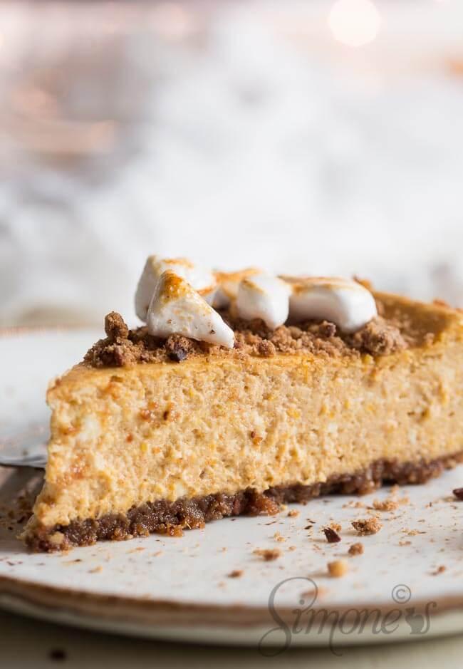 Pompoen cheesecake met marshmallows | simoneskitchen.nl