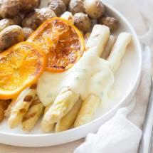 Gegrilde asperges met sinaasappel en pangasius | simoneskitchen.nl
