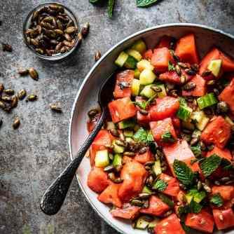 Watermeloensalade met pompoenpitten | simoneskitchen.nl