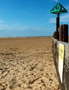 Beach view - a picture of the beach at Wells-next-the-sea with the tide fully out.