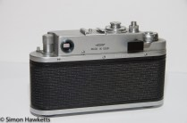 Back view of zorki 4 35mm rangefinder camera