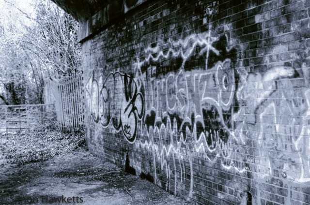 Yashica MG-1 sample pictures - Graffiti under an old railway bridge in Stevenage