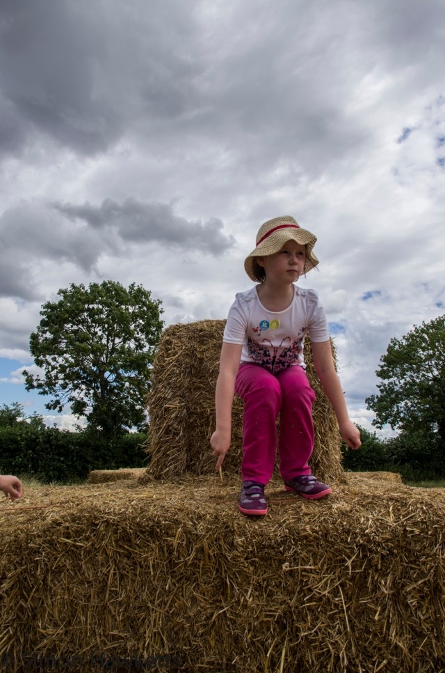 Wimpole Hall in Cambridgeshire pictures - Little girl playing on bales