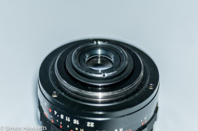 Pentacon 30mm f/3.5 Pre-set lens showing M42 mount