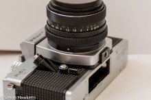 Praktica PLC 3 35mm slr camera - Battery compartment, shutter release and Auto/Manual switch