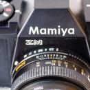 Mamiya ZM Quartz 35mm slr camera showing aperture and depth of field scale