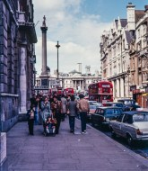 Olympus OM-20 pictures - London street with Nelson's column in the distance on colour negative film taken about 1980