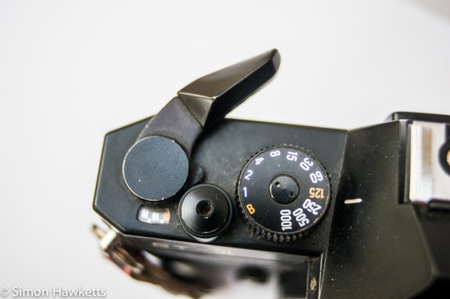 Cosina CT-1 35mm slr showing shutter speed, film advance and shutter release