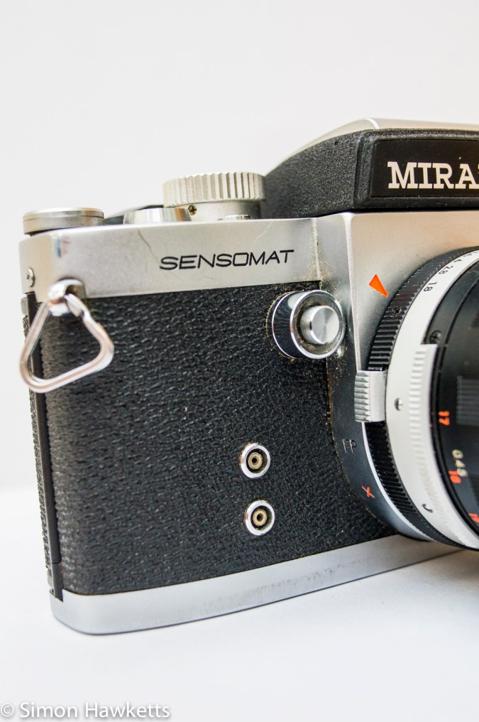 Miranda Sensomat RE 35mm slr camera showing flash sync sockets