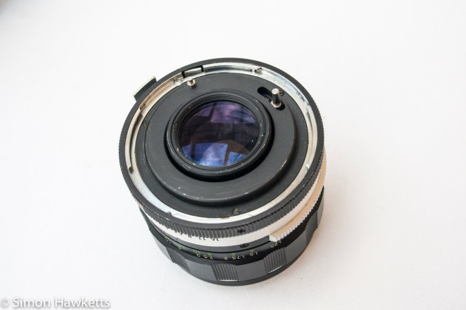 Miranda Sensomat RE 35mm slr camera showing lens mount with additional pin