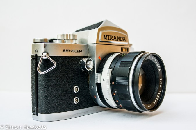 Miranda Sensomat RE 35mm slr camera showing shutter release on front