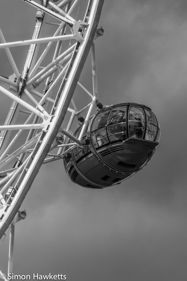 One of the pods on the London Eye in black & white