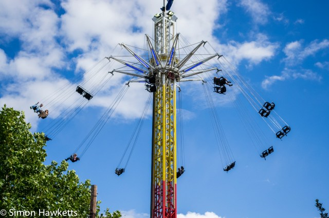 A fairground ride on the banks of the Thames