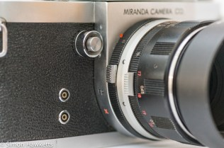 Miranda Fm 35mm slr camera showing lens lock, front release and flash sync sockets
