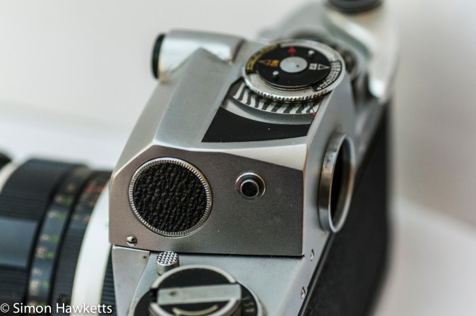 Miranda Fm 35mm slr camera showing light measure button and battery compartment