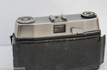 Ilford Sportsman 35mm viewfinder camera showing film advance