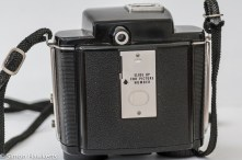 Kodak Brownie Twin 20 roll film camera showing the back of the camera