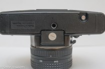Praktica BMS 35mm SLR showing battery compartment and tripod bush
