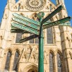 A signpost in the square outside York Minster