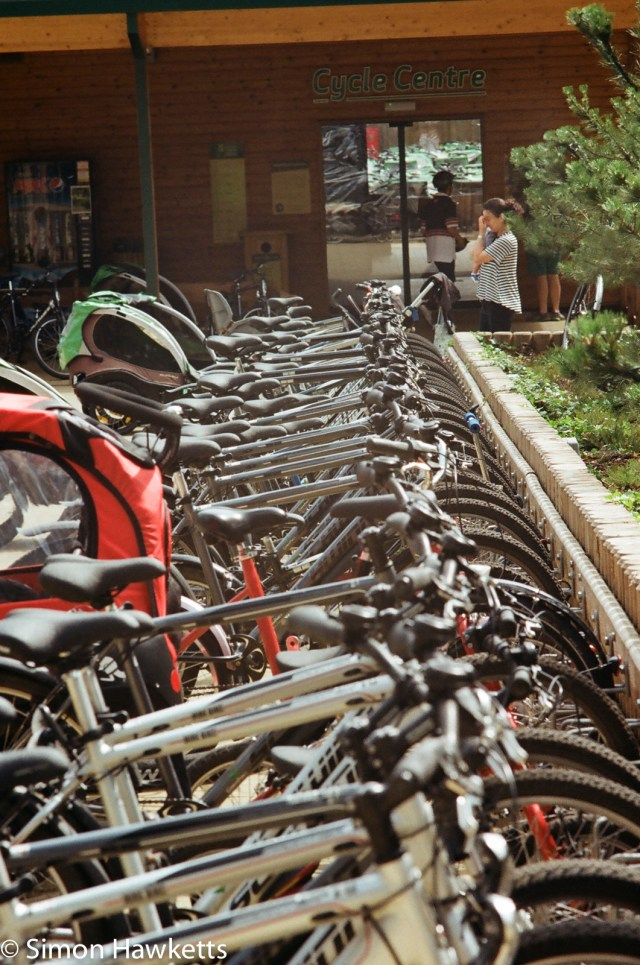 Miranda G slr with Kodak Gold 400 sample picture - A line of bikes leading into the distance
