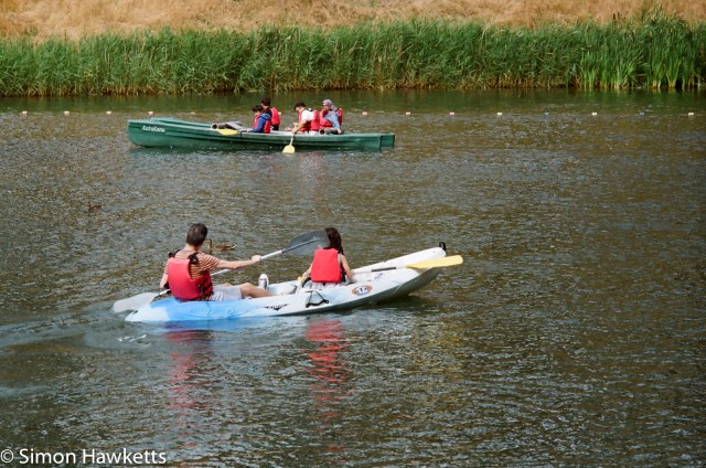 Miranda G slr with Kodak Gold 400 sample picture - People boating on the lake at CenerParcs