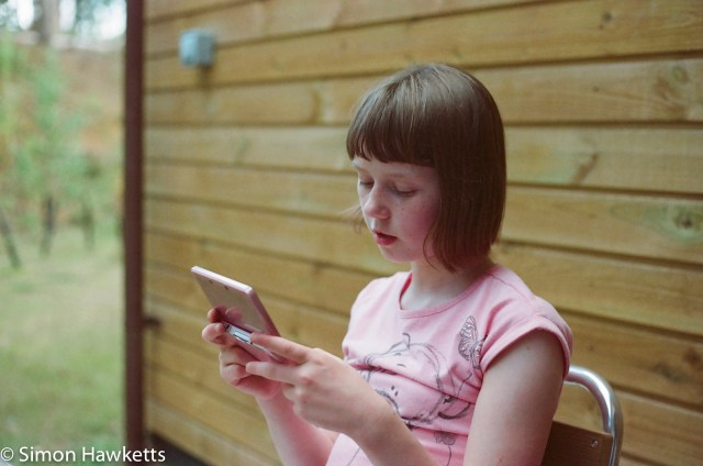 Miranda Sensorex EE slr with Kodak Gold 400 sample picture - Girl in the forest at Woburn forest CenterParcs