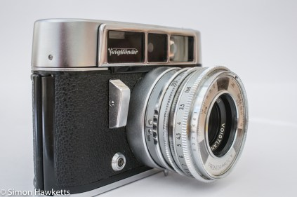 Voigtlander Dynamatic II 35mm rangefinder camera showing shutter release and sync socket