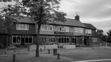 Man in the moon pub in Stevenage in Black & white