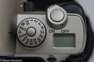 Pentax MZ-M 35mm manual focus slr showing shutter speed, shutter release and top LCD