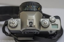 Pentax MZ-M 35mm manual focus slr showing top view