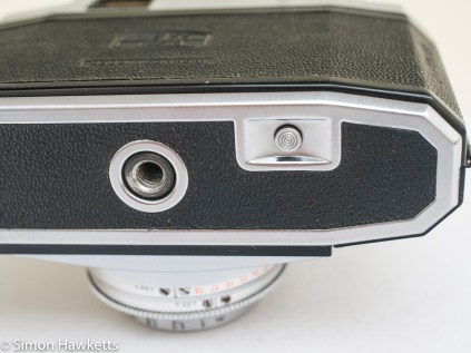 Zeiss Ikon Contina 35mm viewfinder camera showing rewind button and tripod bush