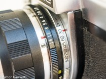 Kowa SE 35mm slr showing shutter speed and aperture