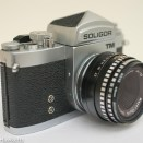 Soligor TM 35mm slr camera showing flash sync sockets