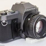 Pentax P30T manual focus 35mm slr side view showing DOF preview and lens release