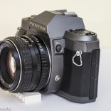 Pentax P30T manual focus 35mm slr side view showing exposure lock and cable release