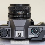 Pentax P30T manual focus 35mm slr top view showing shutter speed, film advance, on/off, rewind and hot shoe