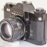 Pentax Spotmatic ES 35mm slr showing metering switch and sync sockets