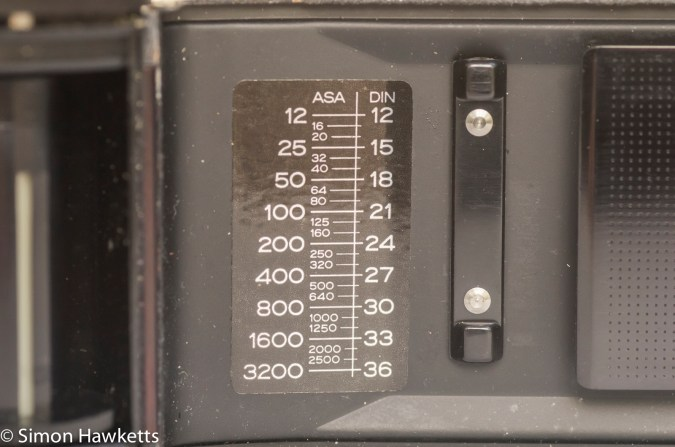 Ricoh KR-10 35mm SLR showing ASA/DIN lookup table in film chamber
